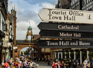 Chester, Cheshire - Shoppers and Signpost