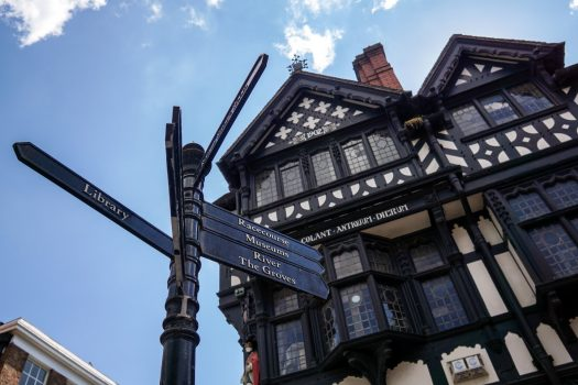 Chester, Cheshire - Signpost infront of black and white building