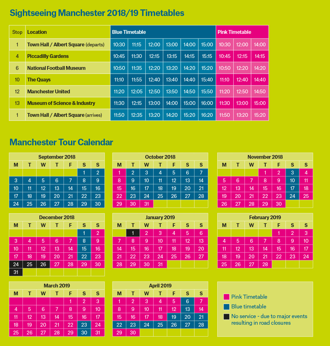 Sightseeing Bus Autumn/Winter Timetable